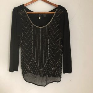 BKE Boutique Black Beaded Blouse sz M